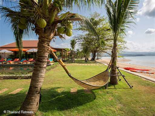 <p>Angthong Villa is beautifully appointed 4 bedroom beachfront villa on the unspoilt sandy beach at Plai Laem (Tambon Bophut) on the north east coast of Koh Samui. The villa boasts stunning views over to the neighbouring islands and a 19m swimming pool set in sprawling beachside lawned gardens.</p>