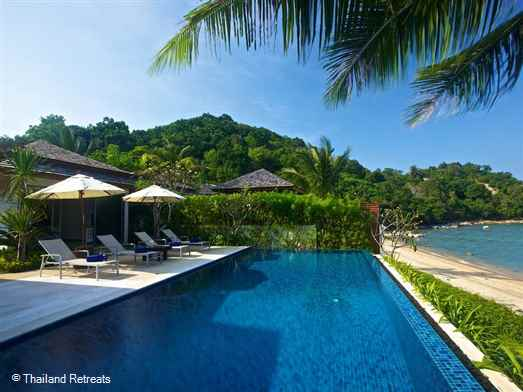 Baan Ban Buri is a beachfront Koh Samui villa rental with infinity edge pool located directly on Bophut beach. 5 minutes drive from popular Fisherman's Village.  The villa offers nightly rates for 2 bedroom or 4 bedroom occupancy (certain seasons).
