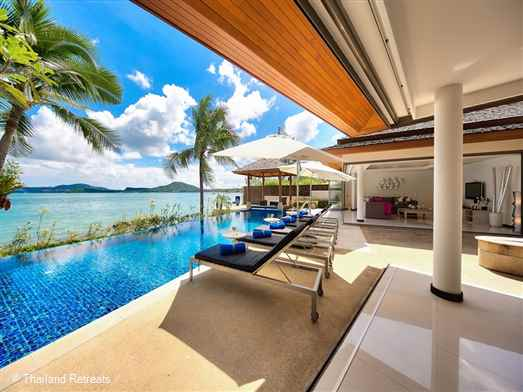 Baan Benjamart is a Koh Samui beachfront villa with infinity edge pool situated on Bophut Beach. Has amazing views over to Koh Phangan. 5 minutes drive to Fishermans Village. The villa offers rates for 2 bedroom and 4 bedroom occupancy ( certain seasons)