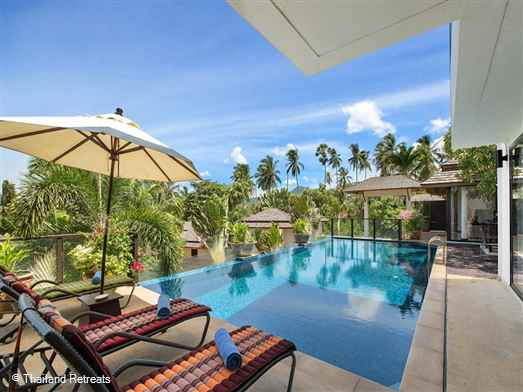 Baan Bua Sawan is a sea view Koh Samui villa with infinity edge pool situated on the second row back from Bophut beach with in a secure beachside development. 5 minutes drive to Fishermans Village. Offers rate for 2 bedroom and 4 bedroom occupancy.
