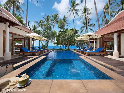 "<p>Baan Chao Lay is a 3-5 bedroom contemporary style luxury Koh Samui villa sitting directly on sunset facing Lipa Noi beach. A private Koh Samui holiday villa - great for family gatherings.<span style=""color: #000080;"">&nbsp;<span style=""font-size: 10pt;""><strong>Reduced nightly rates for 3 bedroom occupancy only with exclusive use of the villa.</strong></span></span></p>"