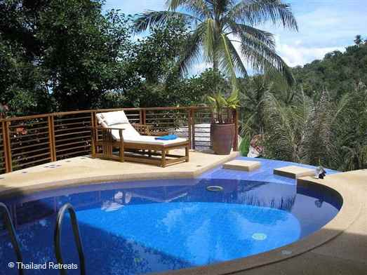 Baan Faan is a spacious 2 bedroom Koh Samui villa with large outdoor living terraces and sea views. Located on lower slopes of an exclusive Bang Por hillside village. Walking distance to a sandy palm fringed beach with restaurants.