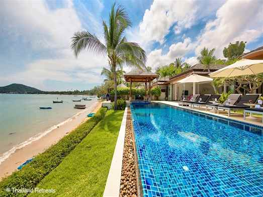 "<p>Baan Feung Fah is a stylishly designed Koh Samui villa with infinity edge pool and sits directly on Bophut beach within a secure beachside development &amp; just 5 minutes drive from Fisherman&rsquo;s Village in Bophut. <span style=""color: #000080;"">The 4 bedroom Feung Fah Villa offers rates for reduced 2 bedroom occupancy with exclusive use of the villa (certain seasons).</span></p>"