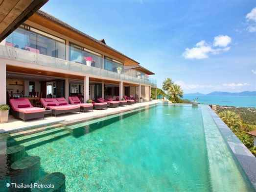 A fabulous hillside Koh Samui villa has panoramic sea views across Bophut beach, beautiful open plan living, excellent alfresco dining and poolside relaxation area. The Villa offers nightly rates for a 3 bedroom and 5 bedroom occupancy.