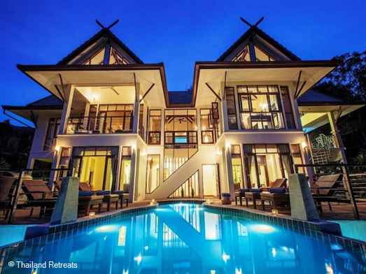 Baan Maphraaw is a secluded Koh Samui villa located on an exclusive hillside village. A calm relaxing retreat with panoramic views, waterfalls, infinity pool and Jacuzzi. Offers rates for 3 bedroom and 5 bedroom occupancy.