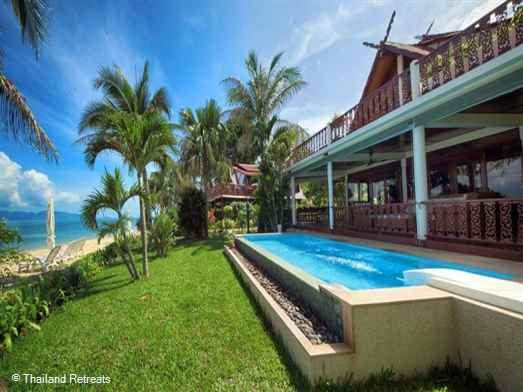 Baan Medaja is a Koh Samui beachfront holiday villa with a private swimming pool located within a small development of similar Thai style beach houses on beautiful Bang Po beach.