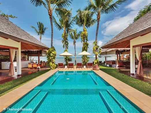 Baan Mika is a luxury Koh Samui beachfront villa set on the peaceful Plai Laem beach. Fabulous lap pool and children's pool. Perfect for family and friends groups.10 minutes from Chaweng beach and Fishermans village. Offers rates for 3 and 6 bedroom occupancy.