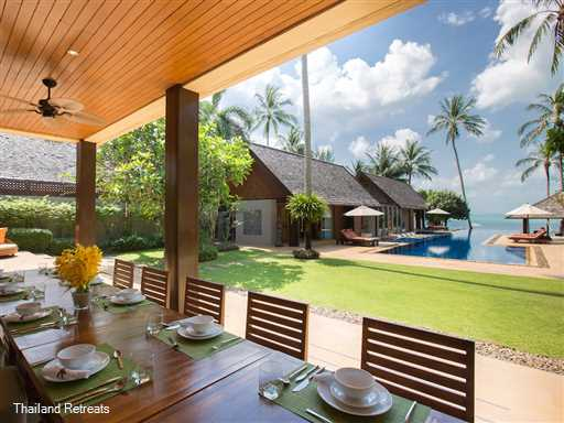 Baan Puri is a sophisticated Koh Samui family beachfront villa located directly on the sunset facing Lipa Noi beach.  Swimming pool with swim up bar. Play area for children and family sea kayak. Offers rates for 6, 5 and 4 bedroom occupancy (certain seasons).