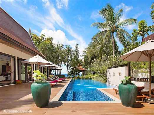 Baan Rattana Thep is one of a group of luxury beachfront villas set directly on west facing Lipa Noi beach behind a secure gate. Has large pool and sundeck area and outdoor Jacuzzi. Offers rates for 5,4 and 3 bedroom occupancy (certain seasons).