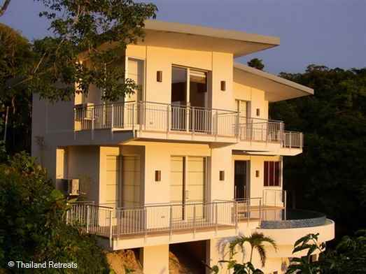 One of a cluster of villas elevated above Kamala village and beach having an infinity edge pool and 180 degree views over the Andaman sea and mountains