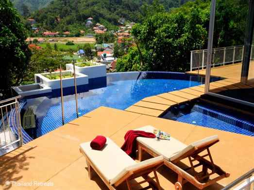 One of a cluster of villas with private pool elevated above Kamala village with views of the surrounding mountains. Spacious family friendly accommodation.