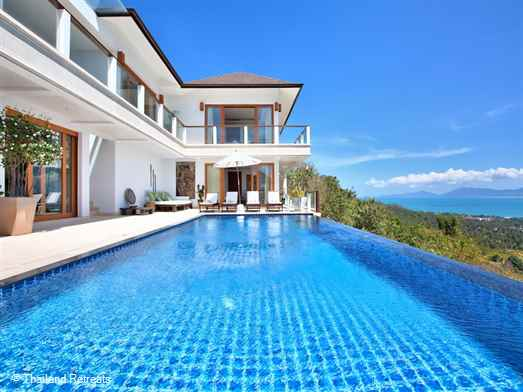 "<p>Ban Lealay is a magnificent 3-4 bedroom villa set in the Bophut hillside, a relaxing retreat with infinity edge pool that has breathtaking views of the ocean. Steam, sauna and fitness room. <span style=""font-size: 10pt;""><strong><span style=""color: #000080;"">Reduced rates for 3 bedroom occupancy only with exclusive use of &nbsp;the villa.</span></strong></span></p>"