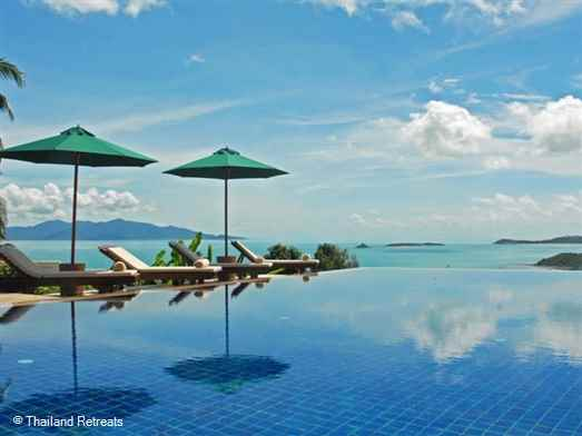 Ban Sawan is a family friendly Koh Samui holiday villa nestled in the hills above Bophut offering amazing ocean views and a super infinity edge pool. 5 minutes from Fisherman's Village and 10 minutes from lively Chaweng.