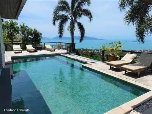 Nestled in the Bophut hills with spectacular views over Bophut Bay.This super villa has a private gym and enjoys great al fresco relaxation. 5 minutes to Bophut