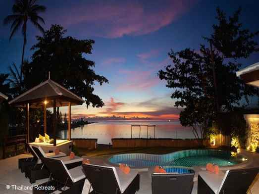 Por Do Sol is a beautiful beachfront villa on the white sands of peaceful Plai Laem beach. Lovely outside relaxation areas with swimming pool & Jacuzzi. Walk to local mini mart. 10 mins to Fisherman's Village, Bophut and 10 mins to lively Chaweng.