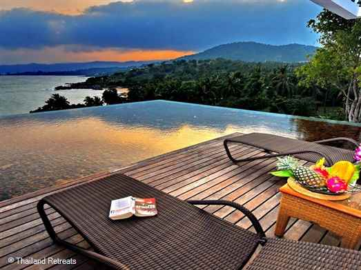 Samujana Villa 19 is a high speci luxury contemporary style villa. Tropical living at it's finest with great views. Choeng mon beach and lively Chaweng a short drive away.