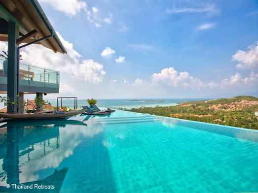 Villa Skyfall is a vast contemporary style Koh Samui villa with state of the art high tech facilities. Cinema, 2 bar areas and panoramic views. 5 mins to the beach. 10 minutes to popular Fisherman's Village, Bophut. Offers rates for 5, 6, 7 and 8 bedroom occupancy.