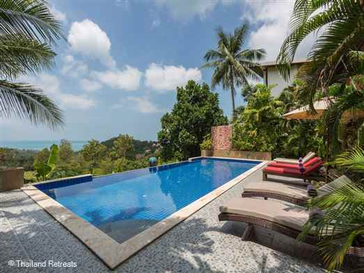 A fabulous viewpoint villa with panoramic views situated on an exclusive hillside village. Has super large pool and the beach and restaurants are 5 mins drive