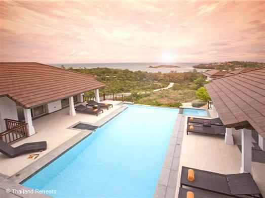 <p>A beautiful hillside villa with stunning ocean views situated within a secure villa development close to Choeng Mon beach and 5 mins from Bophut and Chaweng. complimentary use of fitness gym. On site tennis court hire with floodlights&nbsp;</p>
