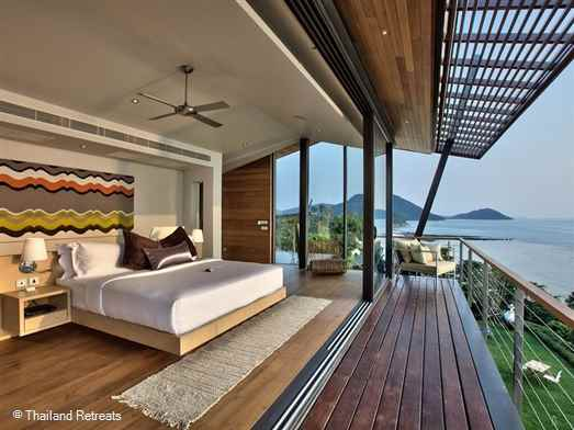 The View is a stunning Koh Samui Villa in an amazing position elevated above a sandy semi private cove in the beautiful south west. Childrens room with equipment and sea kayaks. Offers rates for 3 bedroom, 4 bedroom and 5 bedroom occupancy.
