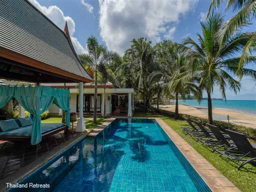 """<p>Villa Acacia is a fully staffed 4 bedroom luxury Koh Samui beachfront villa located on beautiful Maenam Beach. Has stunning view, a swimming pool and private gym. <span style=""""font-size: 10pt; color: #000080;""""><strong>Reduced rates for 2 &amp; 3 bedrooms only with exclusive use of the villa.</strong></span></p>"""