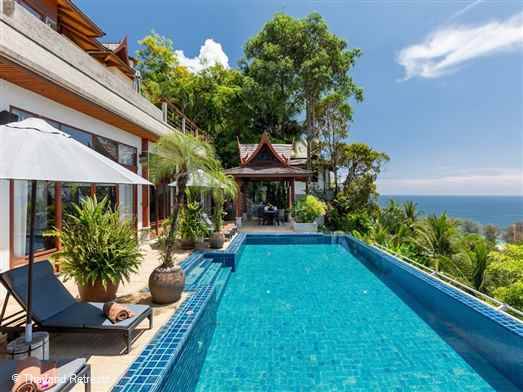 This traditional Thai style villa is 1km from Phuket Bay and a short walk from Surin beach. All 5 bedrooms at this villa have sea views.