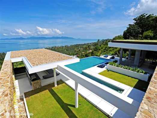 Villa Blue View is a stunning Koh Samui villa elevated just 800m from a quiet stretch of beach. Contemporary & minimalist design, excellent family villa with family bunk bed room. Offers rates for 3 and 5 bedroom options.