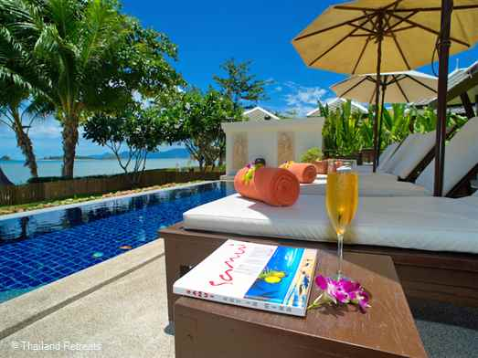 Villa Champagne is a luxury Koh Samui beachfront villa set on the whir sands and peaceful Plai Laem beach with stunning views. Has a large private infinity pool with Jacuzzi. 10 minutes from Fisherman's Village, Bophut. 10 minutes from lively Chaweng.