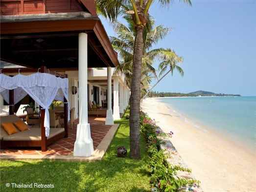 """<p>Villa Hibiscus is a 2-4 bedroom luxury Koh Samui Beachfront villa set on a white sand beach with good swimming and great views. Part of an exclusive beachfront estate. <span style=""""font-size: 10pt;""""><strong><span style=""""color: #000080;"""">Reduced rates for the use of 2 or 3 bedroom occupancy only with exclusive use of the villa.</span></strong></span></p>"""