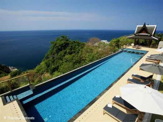 A contemporary hillside property in Kamala, Phuket, with spectacular sea views - sleeps 14. 25 metre infinity pool and seperate children's pool.