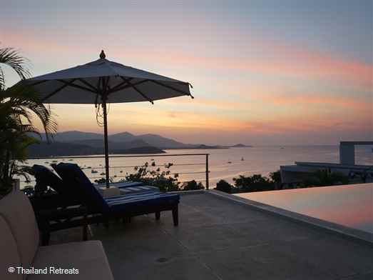 One of a cluster of contemporary style villas elevated above Big Buddha Bay with breathtaking sunset views. Centrally located with easy access to all main towns