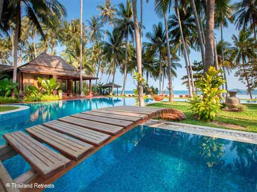 "<p>Villa Kalyana is an exclusive beachfront Estate set in a calm bay in the quiet south of the island this 26 bedroom villa estate ( sleeps max 48 adults and 16 children) and perfect for large family gatherings, weddings and celebrations. <span style=""font-size: 10pt;""><strong><span style=""color: #000080;"">Reduced rates for 7 - 25 bedroom occupancy.</span></strong></span></p>"