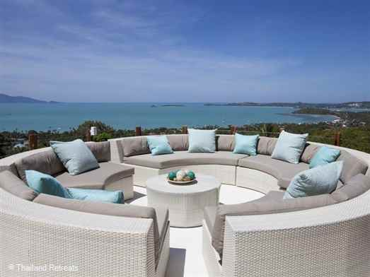 Villa Kya is a fantastic Koh Samui luxury villa with a wow factor with spacious design and stunning views. Located in the hills just 7 minutes from Fisherman's Village Bophut. Offers rates for 3 bedroom occupancy and 4 bedroom occupancy.