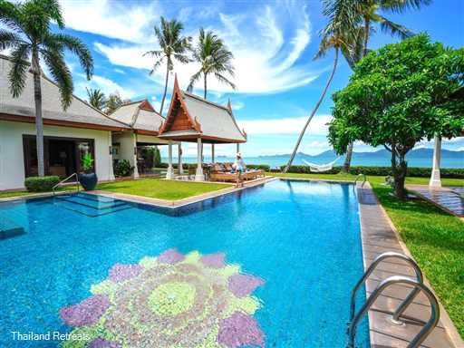 """<p>Villa Lotus is a high spec luxury 4-6 bedroom beachfront villa with a super large pool and games room. Set on a beautiful long sandy swimming beach with stunning views to Koh Phangan. Shared Gym. Popular Wedding Villa. Less than 10 mins to Fisherman's village, Bophut. <span style=""""color: #000080; font-size: 10pt;""""><strong>Reduced rates for 4 bedroom occupancy only with exclusive use of the villa.</strong></span></p>"""