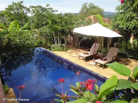 One of 10 very private Balinese style villas set in a large size plot with pool within a secure estate within walking distance of popular Choeng Mon beach
