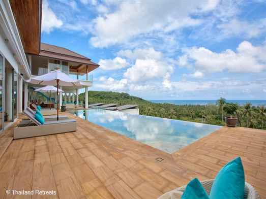 Villa Monsoon is a spacious Koh Samui sea view villa with stunning views featuring 3 master bedrooms plus 3 guest rooms. Has access to a tennis court. The beach and several restaurants within a few minutes drive. Offers rates for 3 bedroom and 6 bedroom occupancy.