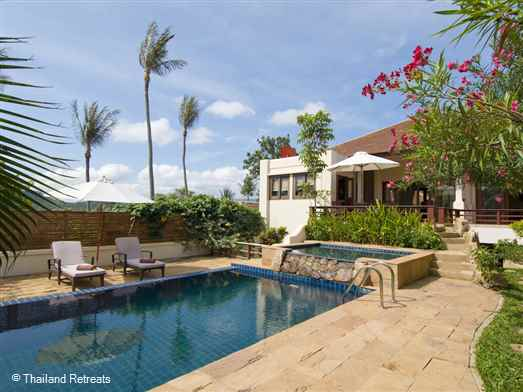 Villa Rambutan is one of a number of very private Balinese style Koh Samui villas set in a large size plot with pool within a secure estate within walking distance of popular Choeng Mon beach and 10 minutes from popular Fishermans Village, Bophut.