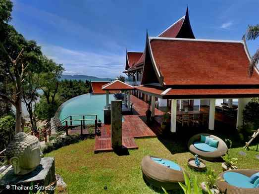 Villa Riva is a unique luxury villa set on a headland above a semi private beach on the north west coast of Koh Samui. Has stunning sunset views, tennis court, gym, sauna steam room and cinema. Offers rates for, 4 bedroom, 5 bedroom, 6 bedroom and 7 bedroom occupancy.