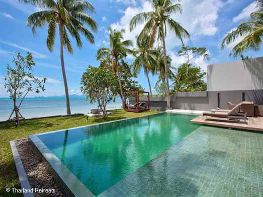 Villa Soong is one of two contemporary style beachfront Koh Samui villas situated within a secure gated area and set in a secluded cove in the north west corner of Koh Samui. Offers rates for 2 bedroom and 3 bedroom occupancy.