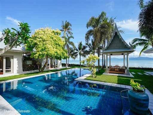 """<p>Villa Waterlily is one of our finest luxury 3-5 bedroom beachfront Koh Samui villas set on&nbsp;stunning Maenam beach and 5 minutes from popular Fisherman's Village, Bophut. Perfect for weddings, family groups and celebrations. <span style=""""font-size: 10pt; color: #000080;""""><strong>Reduced rates for 3 or 4 bedroom occupancy only with exclusive use of the whole villa.</strong></span></p>  <p></p>  <p><span style=""""font-size: 10pt; color: #000080;""""><strong>&nbsp;</strong></span></p>"""