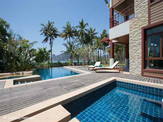 Amatapura Beach Villa 1 is a fabulous Krabi beachfront villa in a spectacular setting with stunning ocean views over lawned gardens and just 10 minutes from popular Ao Nang town and beach