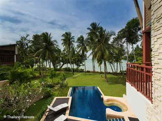 Amatapura Beach Villa 12 is a luxury beachfront Krabi villa set in lawned gardens with fabulous sea views and just a short distance from the town and beach of Ao Nang.