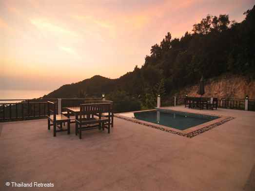 A 3 double bedroom hillside retreat villa with breathtaking views over Haad Salad Bay with dramatic jungle cliffs and national Marine Park views