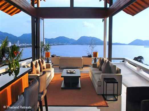 An amazing contemporary design 6 bedroom panoramic sea view Phuket villa located in an exclusive private estate just 4 minutes from the centre of Patong
