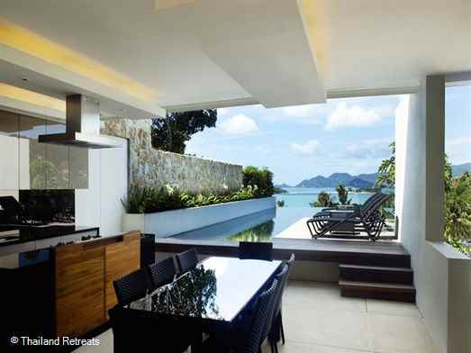Samujana 11B is a contemporary style villa on a high end exclusive estate with stunning views down the east coast of Koh Samui to Chaweng and Matlang Island.  This is tropical living at it's best.
