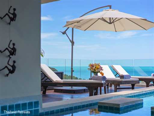 Baan Sukham is a stunning ocean view luxury Koh Samui villa just a short hop from the lively town of Chaweng and the picturesque quieter Choeng Mon beach. Offers rates for 4 bedroom and 6 bedroom occupancy.