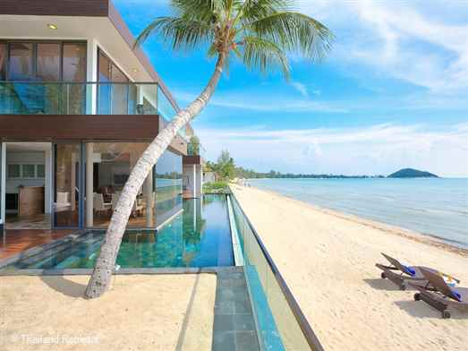 "Villa U is a glass fronted contemporary style ""beach house"" located in a quiet area on the sandy north end of Lipa Noi Beach. This beachfront Koh Samui Villa is a perfect family holiday getaway on a beautiful Koh Samui beach"