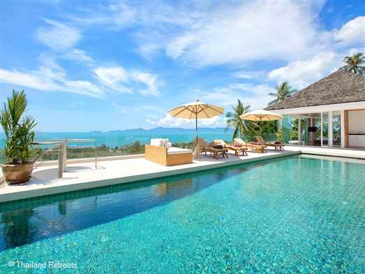 Villa White Tiger is a very spacious contemporary design 4 bedroom luxury villa with a gym and steam room located in the north of Koh Samui. The villa is one of a group of villas on the hillside offering stunning views of Koh Phangan