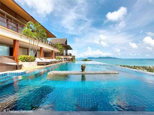 Baan Grand Vista is a luxury 5 bedroom luxury villa located in popular Bophut, Koh Samui set in the hills above Fisherman's village offering stylish living with stunning panoramic views.  Has a 25m infinity edge pool.