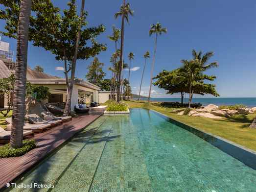 "<p>Villa Malabar is a super new modern luxury Koh Samui beachfront villa set on the quiet shores of Laem Sor beach next to the Golden Pagoda temple in the south of Koh Samui. A very private villa ideal for the perfect getaway with family and friends. <span style=""color: #000080;"">Reduced rates for the use of 4 or 5 bedroom occupancy only certain seasons.</span></p>"